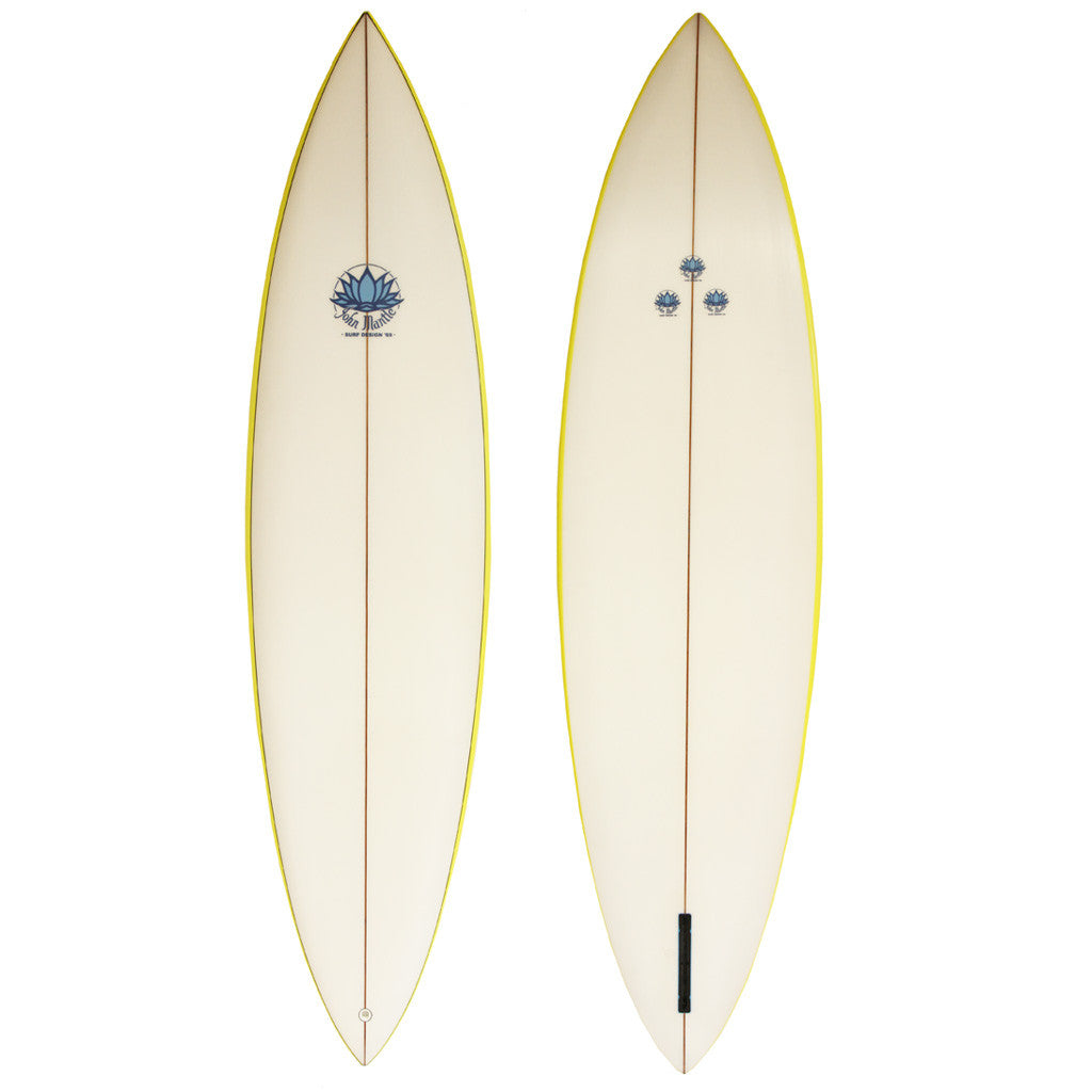 John Mantle Single Fin - 6'10 Yellow Stripe Channel Fin