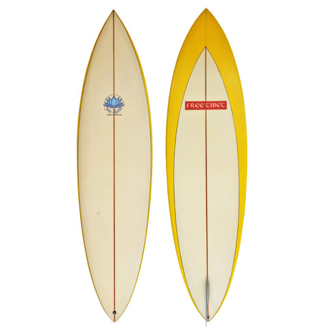 John Mantle Single Fin - 6'10 Yellow Arrow Fixed Fin