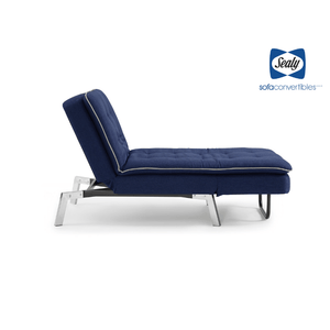 Harriet Chaise Convertible in Blue by Sealy - Futons 4 Less