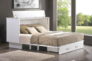Cottage Queen Murphy Cabinet Bed White - Futons 4 Less