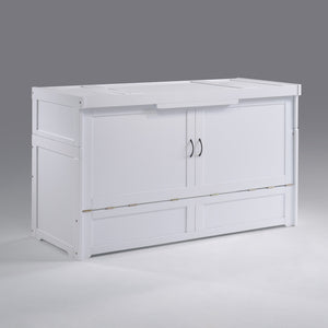 Cube Queen Murphy Cabinet Bed White