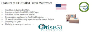Galaxy Futon Mattress by Otis Bed - Premium foam encased innerspring futon