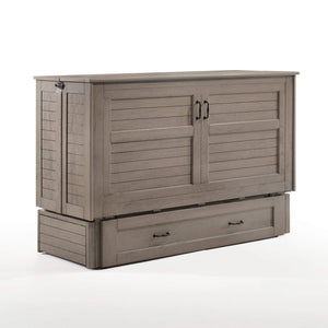 Poppy Brushed Driftwood Queen Murphy Cabinet Bed - Futons 4 Less