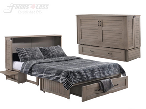 Night & Day Poppy Brushed Driftwood Queen Murphy Cabinet Bed In A Box