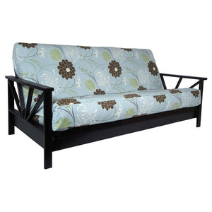 Arial Black Walnut Queen Wall Hugger Futon Frame (KD) - Futons 4 Less