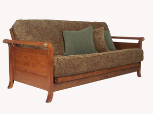 Lexington Warm Cherry Queen Wall Hugger Futon Frame (KD) - Futons 4 Less