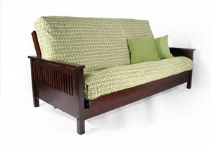 Tiro Dark Cherry Queen Wall Hugger Futon Frame - Futons 4 Less