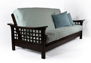 Trelli Black Walnut Queen Wall Hugger Futon Frame (KD) - Futons 4 Less