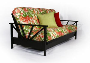 Arial Black Walnut Full Wall Hugger Futon Frame (KD) - Futons 4 Less