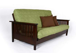 Denali Warm Cherry Full Wall Hugger Futon Frame (KD) - Futons 4 Less