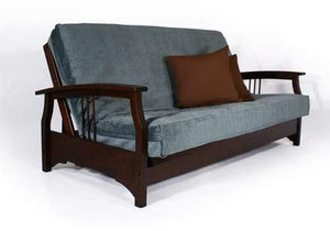 Fremont Dark Cherry Queen Wall Hugger Futon Frame - Futons 4 Less