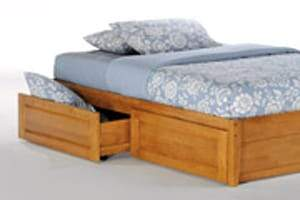 K Series Basic Medium Oak Platform Bed - Futons 4 Less