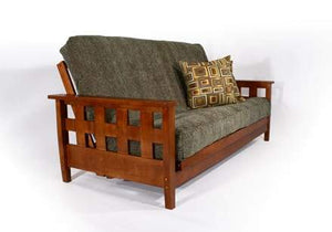 Lambton Warm Cherry Queen Wall Hugger Futon Frame (KD) - Futons 4 Less