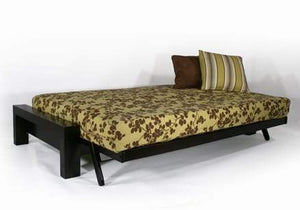 Rockwell Black Walnut Full Wall Hugger Futon Frame (KD) - Futons 4 Less