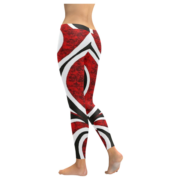 Red White and Black Low Rise Leggings (Invisible Stitch) (Model L05) - kdb solution