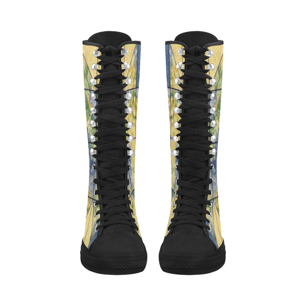 Flower Pattern Canvas Long Boots For Women Model 7013H - kdb solution