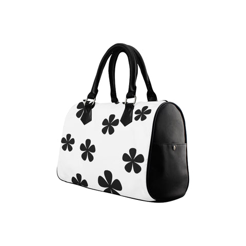 black and white pattern Boston Handbag (Model 1621) - kdb solution