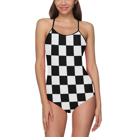 Checkered One Piece Swimsuit ( Model S05) - kdb solution