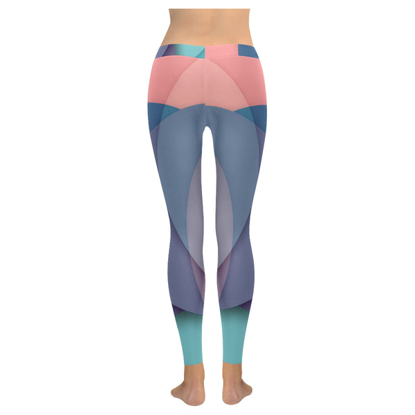 Pink Purple and Blue Low Rise Leggings (Model L05) XXS-XXXXXLh