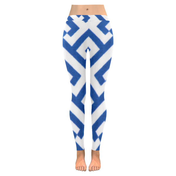 Blue and White Low Rise Leggings (Model L05) XXS-XXXXXL - kdb solution