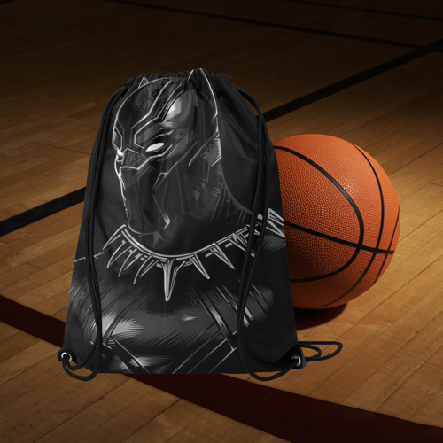 "Black Panther Medium Drawstring Bag Model 1604 (Twin Sides) 13.8""(W) * 18.1""(H) - kdb solution"