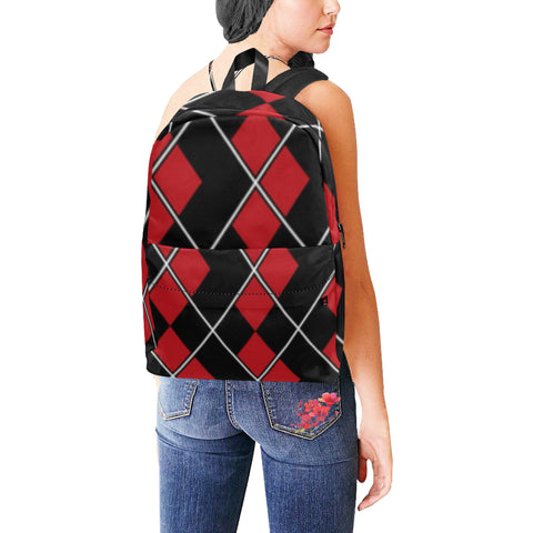 Red and black Diamonds Unisex Classic Backpack (Model 1673) - kdb solution