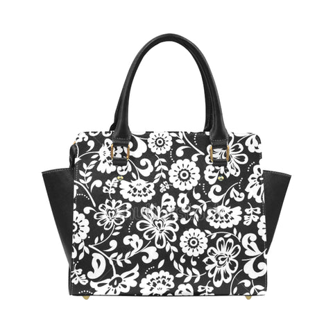 Black and White Flowers Classic Shoulder Handbag (Model 1653) - kdb solution