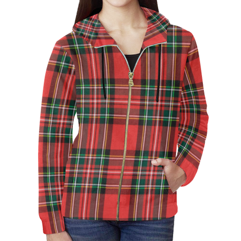 KDB Red Plaid All Over Print Full Zip Hoodie for Women (Model H14)