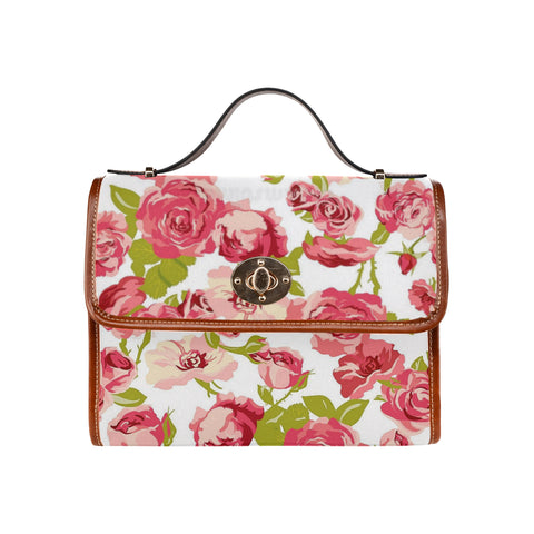 Pink Flowers Waterproof Canvas Bag/All Over Print (Model 1641)
