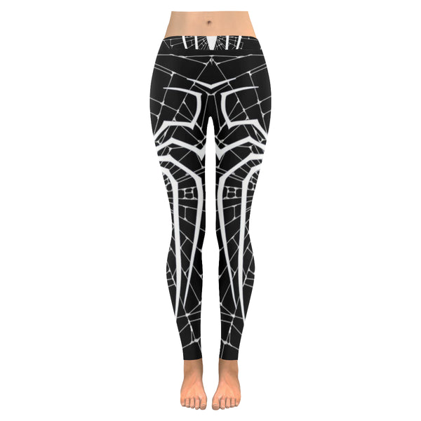 Black and White Spider Web Low Rise Leggings available in XXS -XXXXL - kdb solution