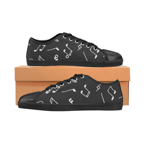 Music Notes Black Women's Canvas Shoes (Model 016)