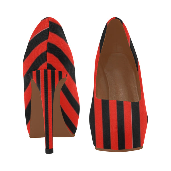 Red and black Women's High Heels (Model 044)