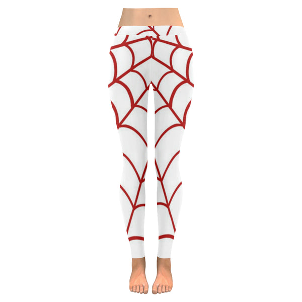 Red and White Spider Web Low Rise Leggings XXS-XXXXXL - kdb solution