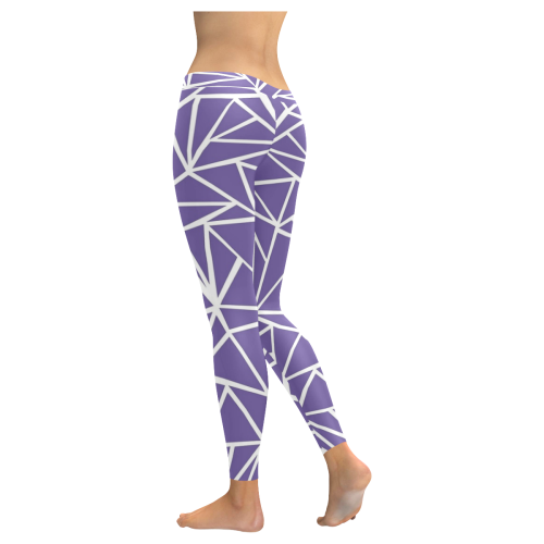 Purple and White design Low Rise Leggings (Invisible Stitch) (Model L05) - kdb solution