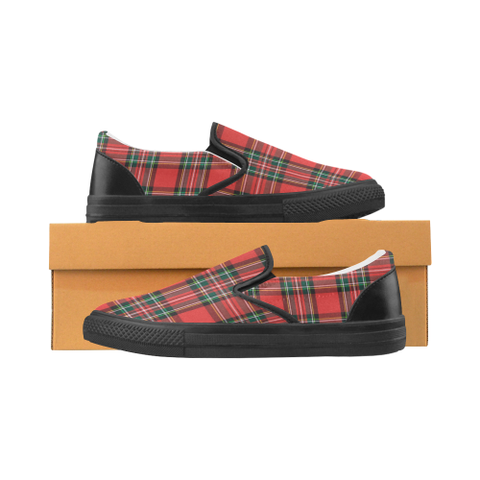 Red Plaid Women's Slip-on Canvas Shoes (Model 019)