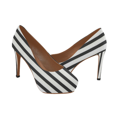 White and black Women's High Heels (Model 044)