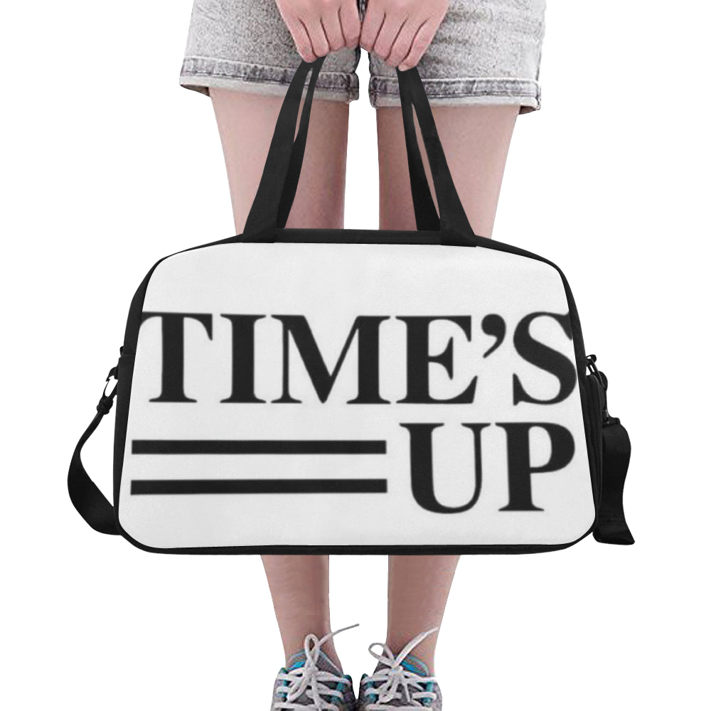 Times up white and black Weekend Travel Bag (Model 1671) - kdb solution