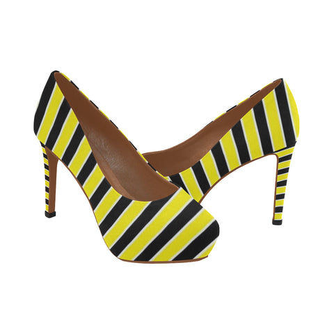 Yellow and black Women's High Heels (Model 044)