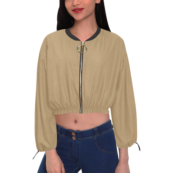 Khaki Cropped Chiffon Jacket for Women (Model H30) - kdb solution