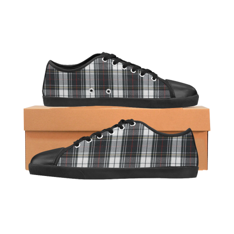 Black and White Plaid with touch of red Women's Canvas Shoes (Model 016) - kdb solution