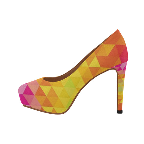 Dominique 3D Yellow and Pink Women's High Heels (Model 044) - kdb solution
