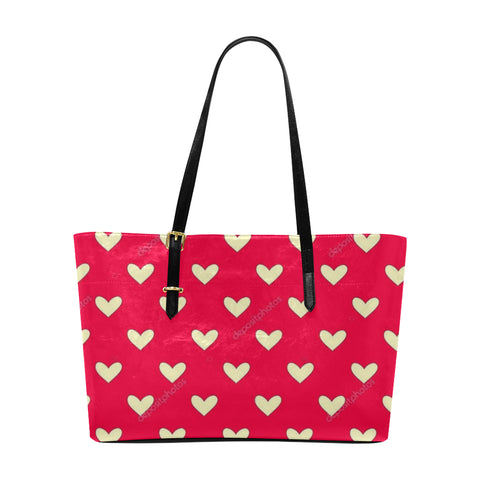 White Hearts Euramerican Tote Bag/Large (Model 1656) - kdb solution