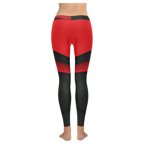 Black and Red 1 Low Rise Leggings (Invisible Stitch) (Model L05) - kdb solution