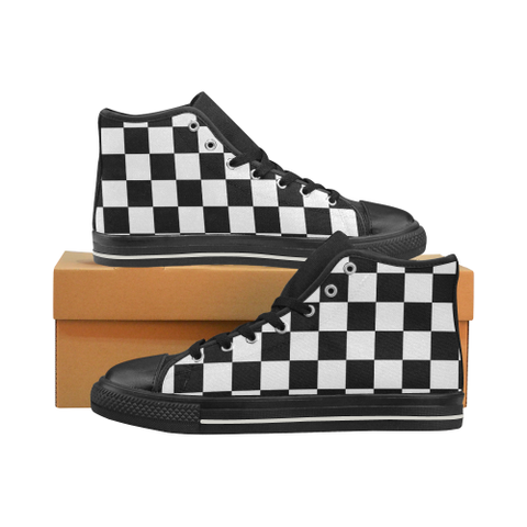 checkered pattern Men's Classic High Top Canvas Shoes (Model 017) - kdb solution