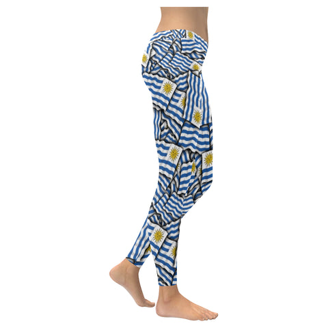 Uruguay flags Low Rise Leggings (Invisible Stitch) (Model L05)