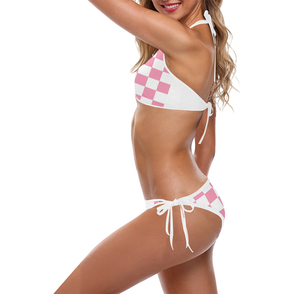 Pink and White Checkered Custom Halter & Side Tie Bikini Swimsuit (Model S06) - kdb solution