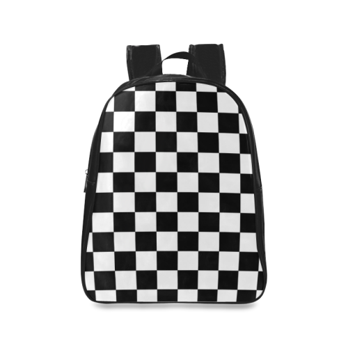 Black and White Checkered Pattern School Backpack/Large (Model 1601) - kdb solution