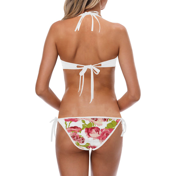 Pink Flowers Custom Halter & Side Tie Bikini Swimsuit (Model S06) - kdb solution