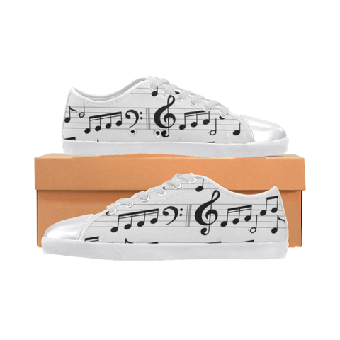 Music Notes Women's Canvas Shoes (Model 016)