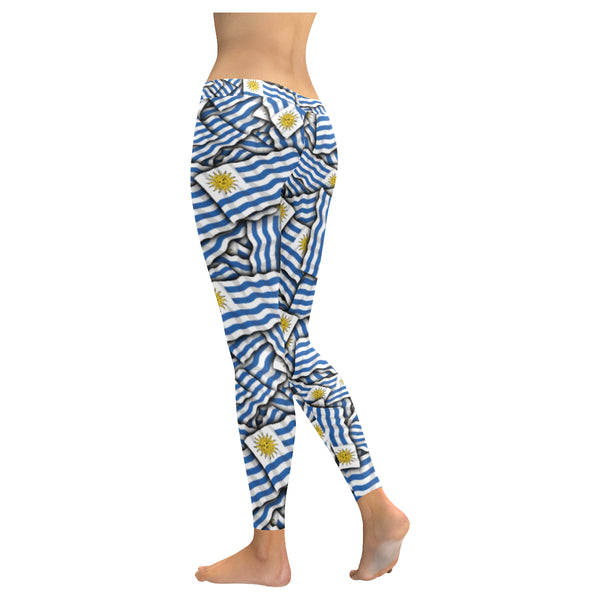 Uruguay flags Low Rise Leggings (Invisible Stitch) (Model L05) - kdb solution